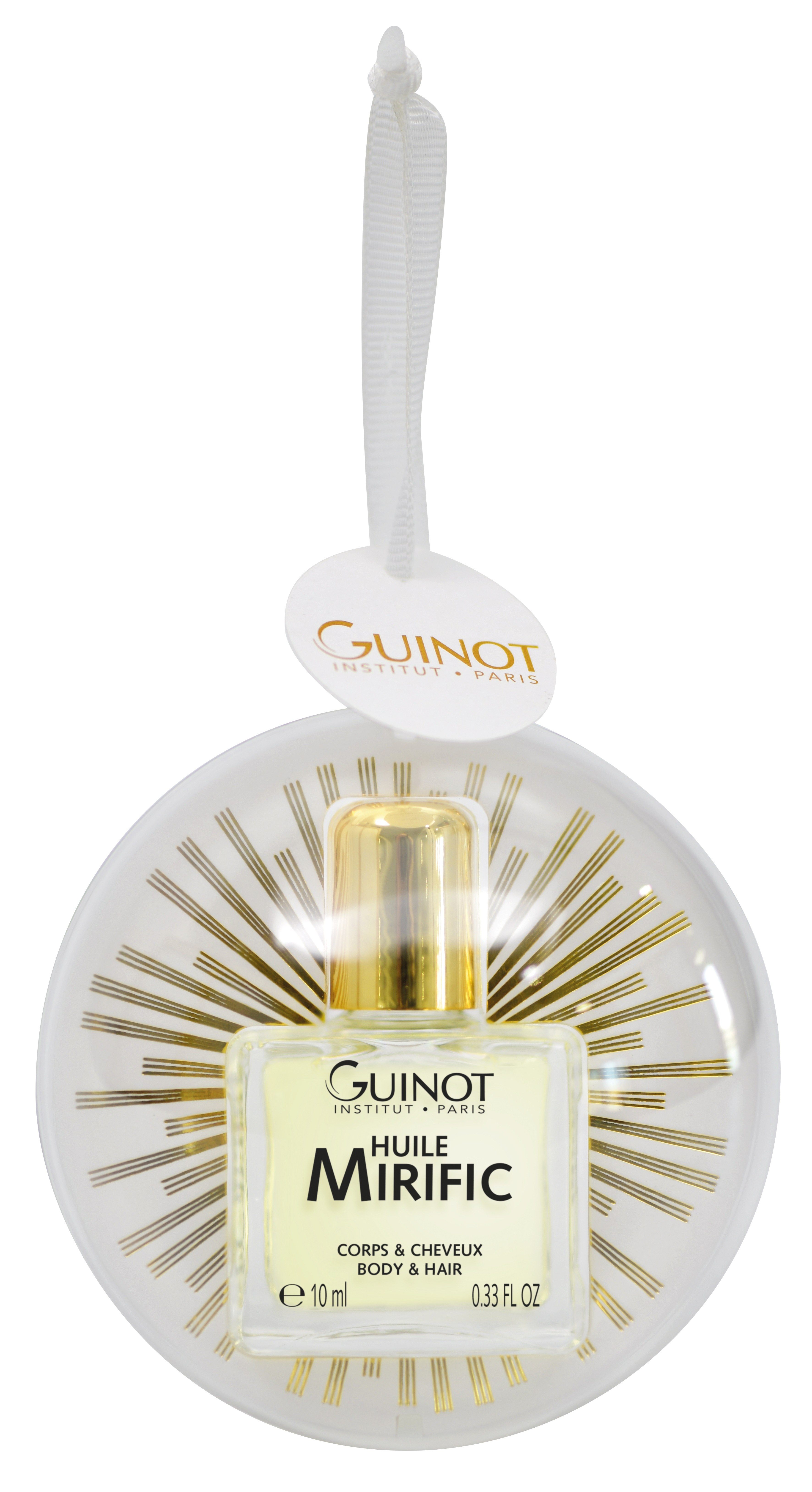 Guinot Huile Mirific festive bauble BeautyandHairdressing